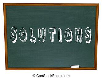 解決方案, 黑板, 粉筆, 詞, 回答, 新的想法