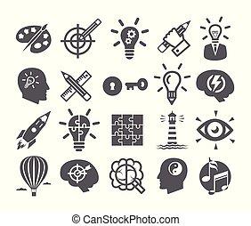 解決, セット, 力, アイコン, 心, 創造性, 想像力, 考え, 脳, 問題, インスピレーシヨン
