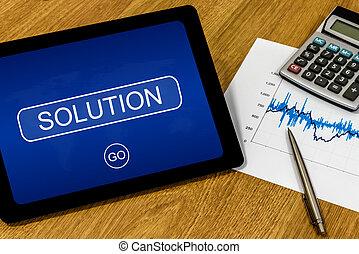 解決, 上に, デジタルタブレット