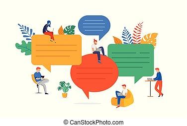 解決, 平ら, 捜索しなさい, グループ, 人々, コミュニケーション, brainstorming., 若い, イラスト, 談笑する, 考え, ベクトル, 問題, スタイル