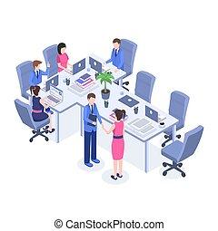解決, 等大, 労働者, マネージャー, illustration., オフィス, 仕事場, 色, ブレーンストーミング, 従業員, 協力, 上司, プロジェクト, characters., ベクトル, チームワーク, ミーティング, 協力, 問題, 漫画, 3d