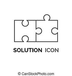 解決, 集まりなさい, アイコン, 困惑, 概念, 問題を解決する, 単純である, デザイン