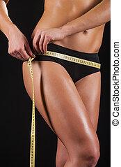 解決, results., 被收獲, 圖像, ......的, 年輕婦女, 在, 運動衣服, 測量, 她, 臀部