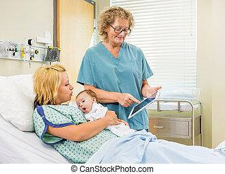 解释, babygirl, 妇女, 女性, 牌子, 医院, 报告, newborn, 成熟, 数字, 护士