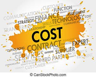 言葉, コスト, 関係した, 項目, 雲