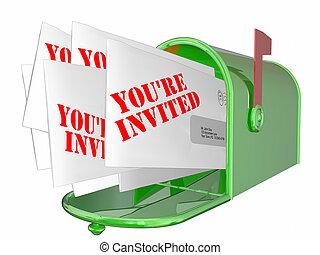 言葉, メッセージ, 招待された, メールボックス, youre, 封筒