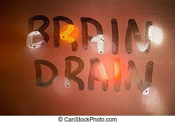 言葉, 下水管, 脳, オレンジ, ガラス, ぼんやりさせられた, 書かれた, クローズアップ, 背景, ぬれた, 窓, 色, 夜