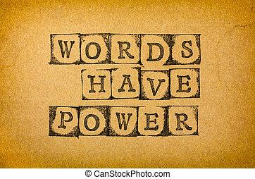 言葉, 持ちなさい, 力