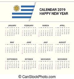 言語, ウルグアイ, バックグラウンド。, 旗, 2019, 英語, カレンダー