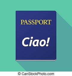 言語, テキスト, 長い間, hello!, パスポート, 影, イタリア語