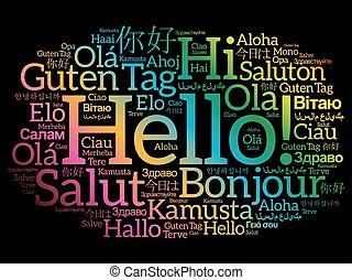 言語, 別, 単語, こんにちは, 雲