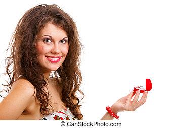 訂婚戒指, 婦女, 禮物, 打開
