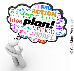 計劃, 戰略, 思想家, 認為云, 想象