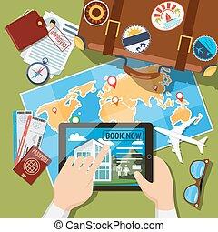 計劃, 暑假, 或者, 空閑, 旅行, 安排, 概念