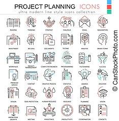 計劃, 网, 財政, 商務圖標, 顏色, outline, 現代, apps, 項目, 矢量, 線, ultra, design.