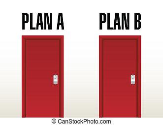 計劃, a, 計劃, b, 選擇, 門, 插圖, 設計