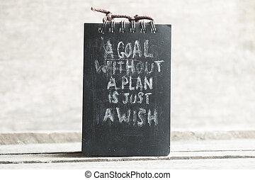 計画, ただ, テキスト, 願い, ゴール, なしで