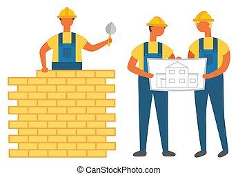 計画, エンジニア, レンガ, 壁, 建物, 人