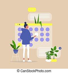 計画, オフィス, プロジェクト, プロセス, 若い, 期限, 女性, 仕事, デジタル, カレンダー, 組織化する, ...