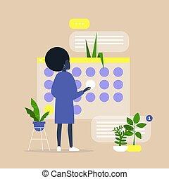 計画, オフィス, プロジェクト, プロセス, 若い, 期限, 黒人女性, デジタル, カレンダー, 組織化する, ...