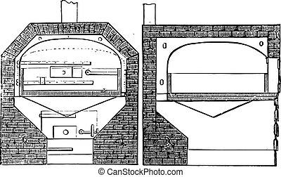 計画, セクション, engraving., 炉, 型