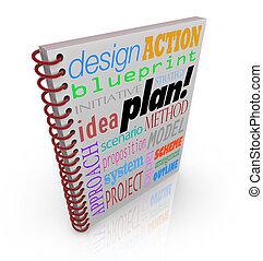 計画, ビジネス, カバー, 作戦, 本, 計画
