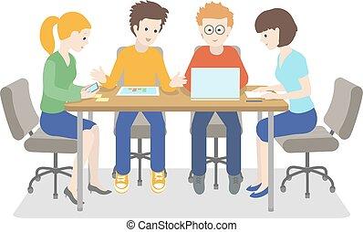 計画, ビジネス, ベクトル, それ, 人々, company., 作戦, 話し, working., 一緒に, 始動, イラスト, チーム, meeting., 若い