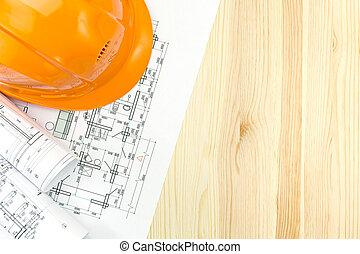 計画, ヘルメット, 安全, 図画, 木製の床, 机