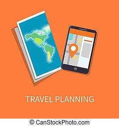 計画, ポスター, 旅行, イラスト, 地図, ベクトル