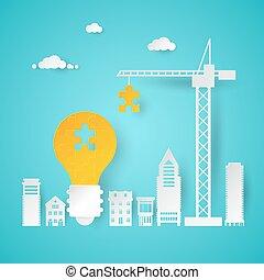 計画, 場所, ライト, 考え, イラスト, 創造的, idea., ベクトル, 電球, クレーン, 小片