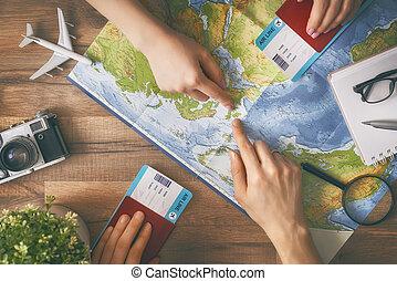 計画, 女, 旅行, 人