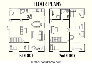 計画, 家, furniture., 床, 建築, 二番目に, 最初に