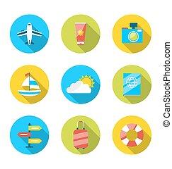 計画, 平ら, セット, アイコン, 休暇, 現代, 旅行, オブジェクト, 夏, 観光事業, 旅行