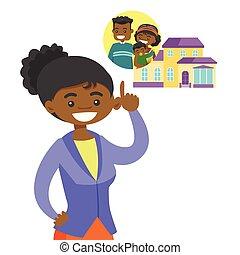 計画, 彼女, 家族, house., 購入, 女