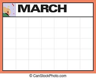 計画, 日付, 3月, illustration., メモ, 月, ベクトル, 場所, ブランク, カレンダー, あなたの