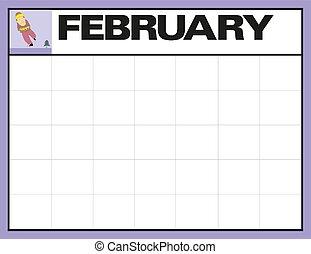 計画, 日付, illustration., メモ, 2 月, 月, ベクトル, 場所, ブランク, カレンダー, あなたの