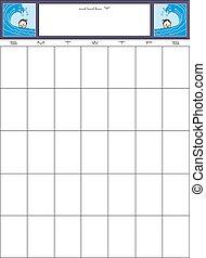 計画, 日付, illustration., 単純である, メモ, 月, ベクトル, 場所, ブランク, カレンダー, あなたの