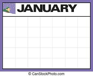 計画, 日付, illustration., 1 月, メモ, 月, ベクトル, 場所, ブランク, カレンダー, あなたの