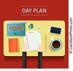 計画, 日, 別, イラスト, オブジェクト, テーブル, 黄色, ブランク