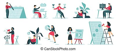 計画, 生産性, イラスト, 隔離された, organising., オフィス, タイミング, 管理, 仕事, ...