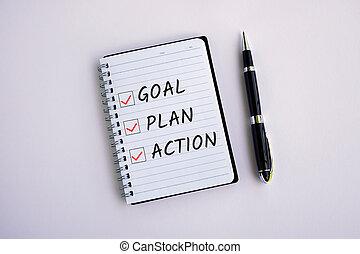 計画, 背景, ゴール, メモ用紙, 白, チェックリスト, 行動, テキスト