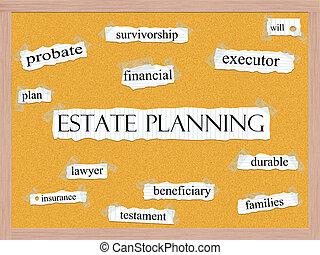 計画, corkboard, 概念, 単語, 財産