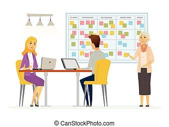 計画, kanban, ビジネスオフィス, 現代, -, システム, イラスト, ベクトル, 特徴, 漫画