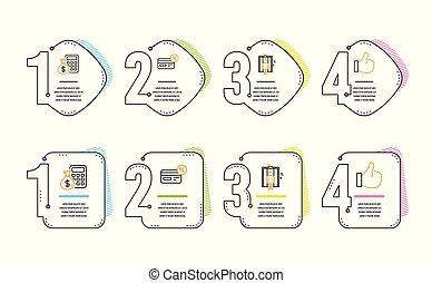 計算しなさい, アイコン, リフト, 支払い, お金。, エレベーター, のように, cashback, ベクトル, non-cash, set., 印。, 計算機, 金融