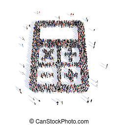 計算器, 人們, 形狀, 3d