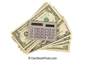 計算器, 以及, a, 束, 美元