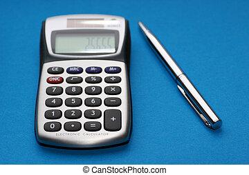 計算器, 以及, a, 鋼筆