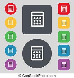 計算器, 簽署, icon., bookkeeping, 符號。, 集合, 顏色, buttons., 矢量