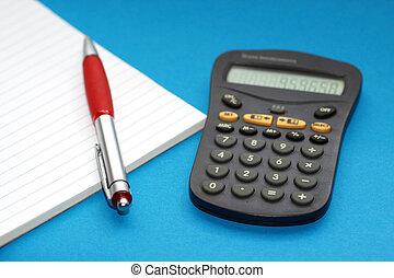 計算器, noteblok, 以及, a, 鋼筆