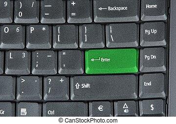 計算机鍵盤, 由于, 綠色的鑰匙, 技術, 背景